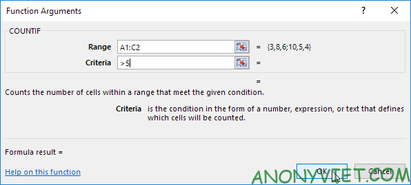 Hộp thoại Function Arguments Excel
