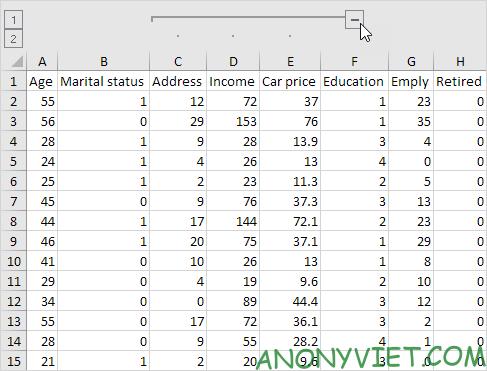 Ẩn các cột với dấu trừ trên đầu Excel