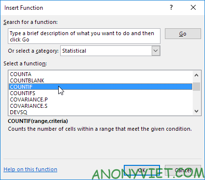 Hộp thoại của Insert Function Excel