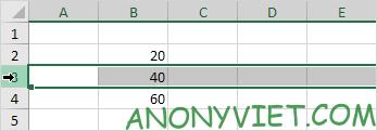 Chèn dòng Excel