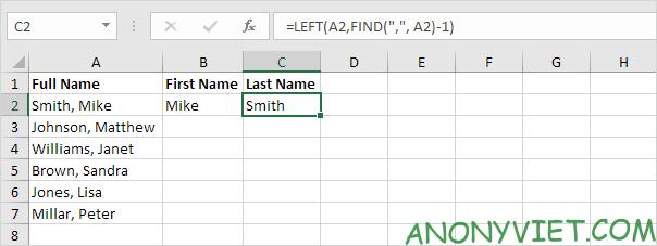 Công thức lọc họ Excel
