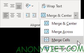 Chọn Merge Cells Excel