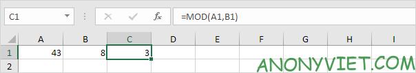 Hàm MOD Excel