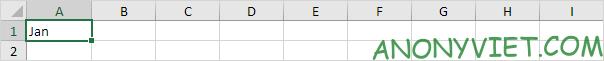 ghi Jan vào ô A1 Excel