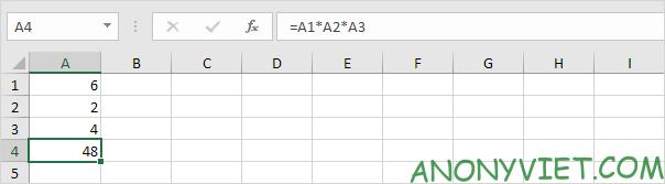 Phép nhân trong 1 khoảng Excel