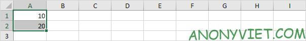 Điền giá trị ô A1 và A2 Excel