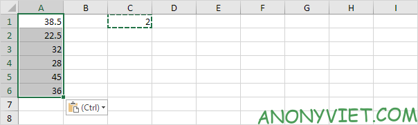 Kết quả của Paste Special Excel