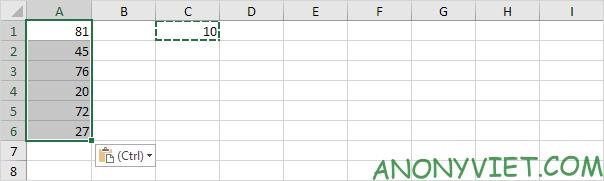 Kết quả Paste Special Excel