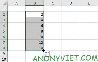 Kết quả sau khi kéo Excel