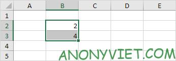 Viết giá trị = 2 vào ô B2 và giá trị = 4 vào ô B3 Excel