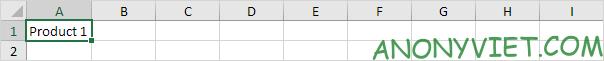 Điền Product tại ô A1 Excel