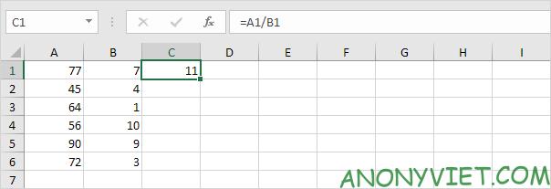 Ghi phép chia Excel