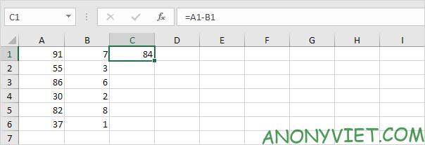Phép trừ với 1 khoảng Excel
