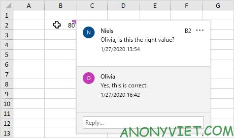 Trả lời Comment Excel