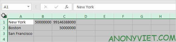Chọn tất cả các cột Excel