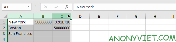Chọn cột cần thay đổi chiều rộng Excel