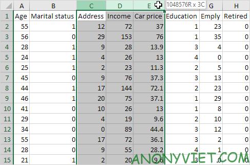 Chọn các cột Excel