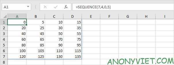 sử dụng hàm SEQUENCE trong Excel