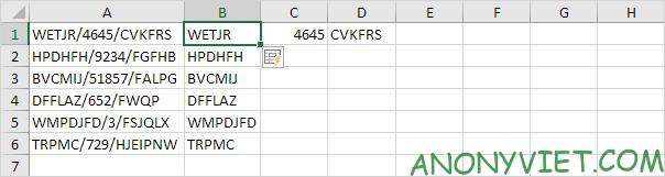 Tách dữ liệu cột B Excel