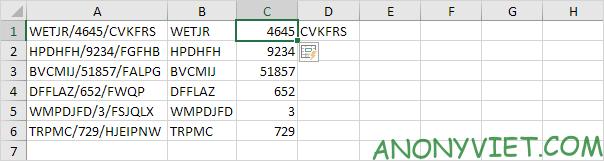 Tách dữ liệu cột C Excel