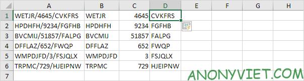 Tách dữ liệu cột D Excel