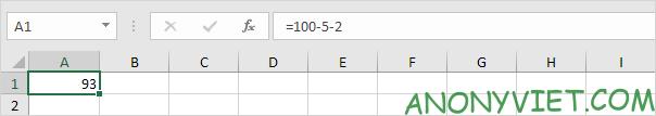 Subtract - phép tính trừ thông thường Excel