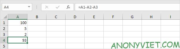 Phép trừ của 1 khoảng Excel