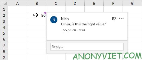 Xem comment vừa tạo Excel