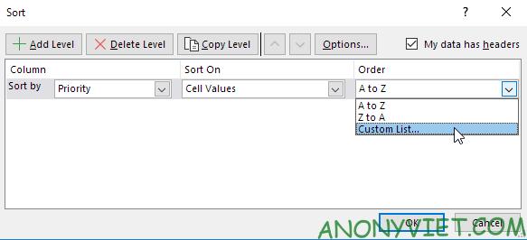 Bài 210: Tuỳ chọn sắp xếp thứ tự trong Excel 29