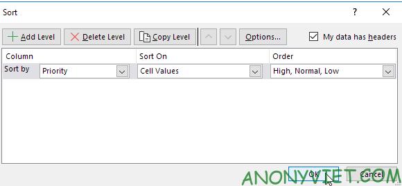 Bài 210: Tuỳ chọn sắp xếp thứ tự trong Excel 31