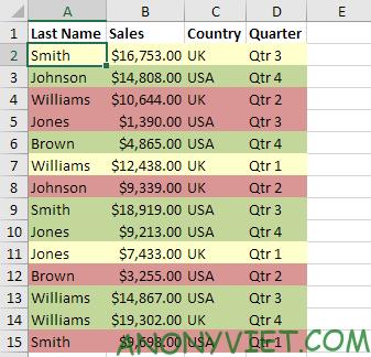 Bài 211: Sắp xếp theo màu trong Excel