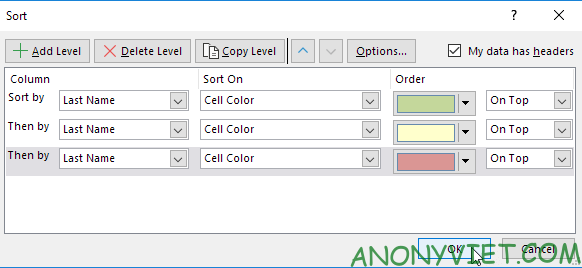 Bài 211: Sắp xếp theo màu trong Excel 27