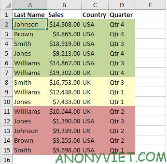 Bài 211: Sắp xếp theo màu trong Excel 28