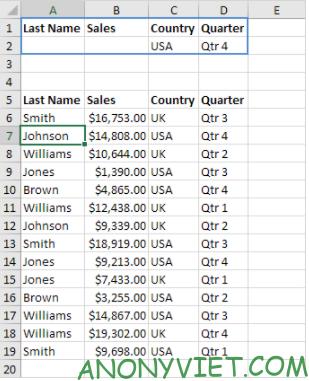 Bài 217: Lọc Nâng cao ( Advanced Filter) trong Excel