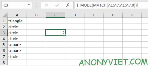 Bài 208: Giá trị xuất hiện xuyên nhất trong Excel 19