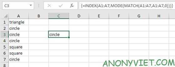 Bài 208: Giá trị xuất hiện xuyên nhất trong Excel 20
