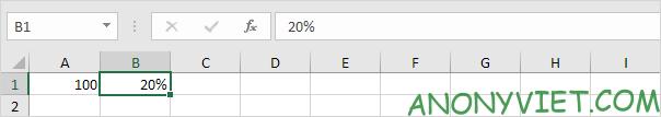 Ô B1 có giá trị 20% Excel