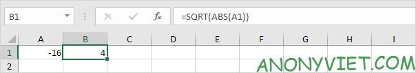 Lồng hàm ABS vào hàm SQRT Excel
