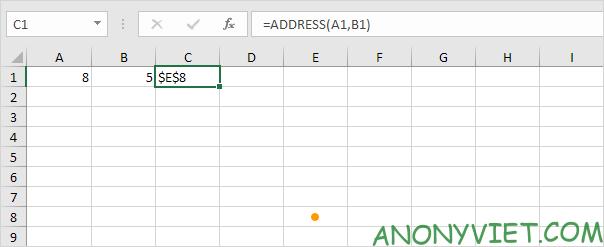 Bài 130: Cách sử dụng hàm Address trong Excel