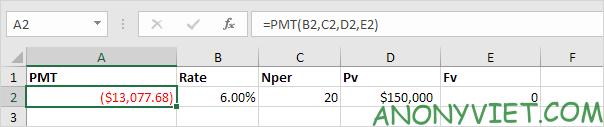Bài 167: Cách sử dụng hàm PMT trong Excel