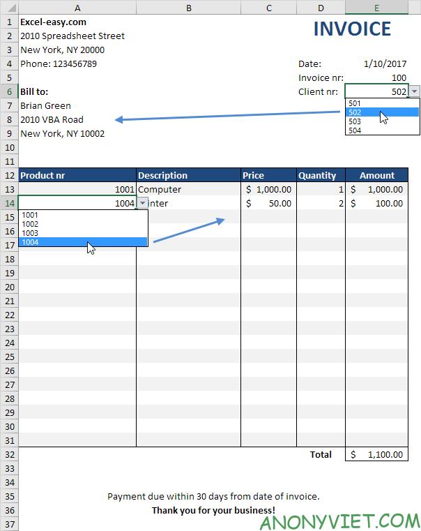 Bài 62: Cách tạo hóa đơn tự động trong Excel