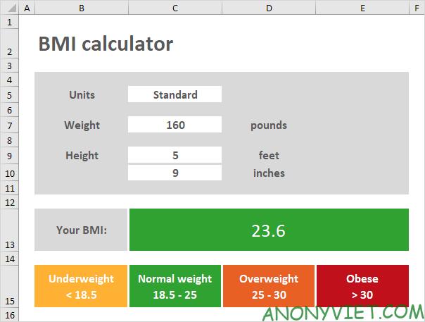 Bài 65: Cách tạo bảng tính BMI trong Excel