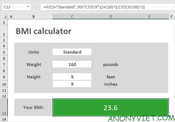 Bài 65: Cách tạo bảng tính BMI trong Excel 40