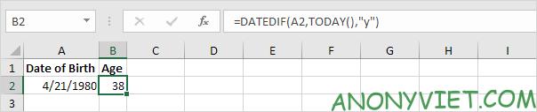 Bài 134: Cách tính tuổi trong Excel 30