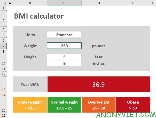 Bài 65: Cách tạo bảng tính BMI trong Excel 41