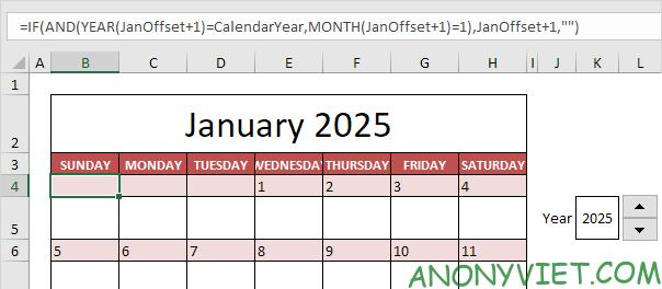 Bài 58: Cách tạo Lịch trong Excel 22