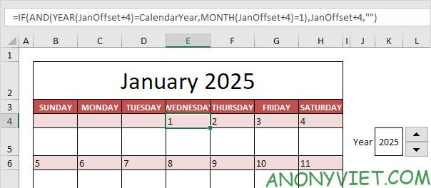 Bài 58: Cách tạo Lịch trong Excel 23
