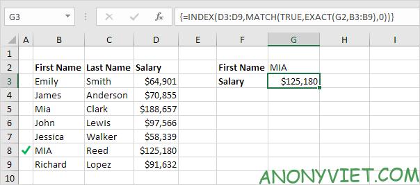 Bài 159: Tra cứu phân biệt chữ hoa chữ thường trong Excel 36