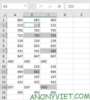 Bài 54: Cách Đánh dấu các ô khác nhau trong 1 hàng Excel 34
