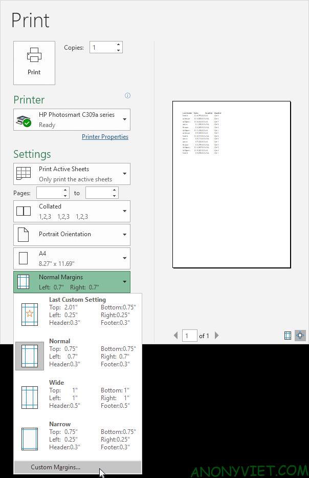 Bài 87: Cách căn giữa nội dung khi in trong Excel